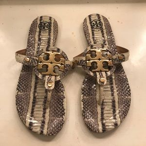 Tory Burch Snakeskin Flip Flops